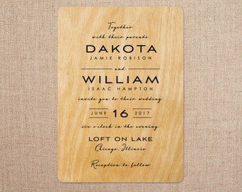 real wood wedding invitations contempo