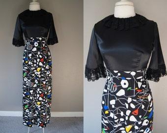 Vintage 60's Alexander Calder Dress Mod Dress Mid Century Dress Mod Gown Black Dress small Extra Small Maxi Dress Long Skirt Small Gown XS