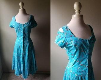 Vintage 70's Cotton Dress with Cutouts Teal Floral cold Shoulder Dress Maxi Shirt Dress Button Down Boho Bohemian Summer Large Dress