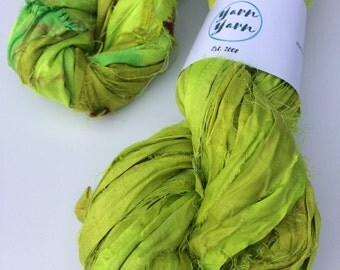 Sari silk ribbon, caterpillar green. 10 yards, Ribbon yarn, sari bracelet making, knit, crochet weave. Ethical yarn.