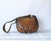 BACK In THE SADDLE Vintage 70s Purse | 1970s Floral Hand Tooled Leather and Brass Saddle Shoulder Bag | Boho, Hippie, Western, Southwestern