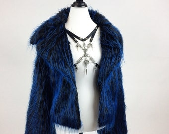 90's New with Tags, Shaggy Black with Blue Tips Fluffy Faux Fur Zip Cropped Coat // M - XL