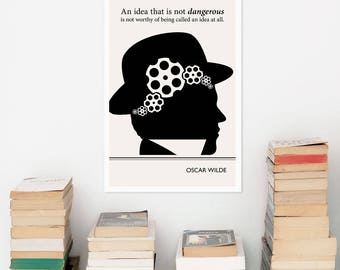 Modern Art Prints, Oscar Wilde Quote Minimalist Poster, Large Wall Art Print, Illustration Quote Posters, Literary Gifts for Men Office Art