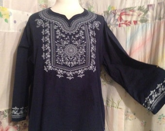 LARGE, Top Boho Hippie Navy Blue Bohemian Cotton Tunic Top