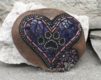 Purple Heart w/Pink Pinwheel Flower, Black Paw Print - Garden Stone, Pet Memorial