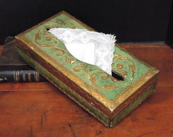 Vintage Italian Florentine Wood Tissue / Kleenex Box Holder / Green and Gold Florentine Tissue Box