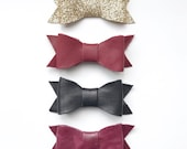 Genuine leather or glitter hair bow- gold, red, black, and burgundy