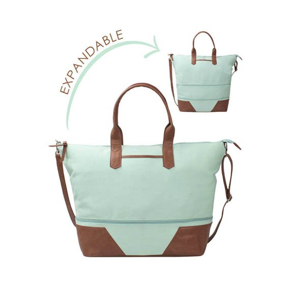 Washed Canvas Expandable Tote in Mint Green