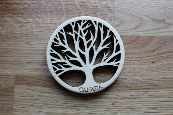 Tree of Life Coaster, Baltic Birch Wood, Laser Cut, Paul Szewc
