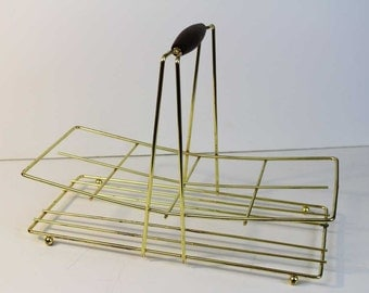 Vintage Glass Carrier - Brass and Wood Danish Modern