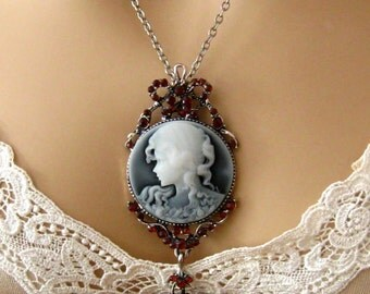 Slate Blue Cameo: Victorian Woman Blue Cameo Necklace, Vintage Inspired Victorian Cameo Necklace, Victorian Jewelry