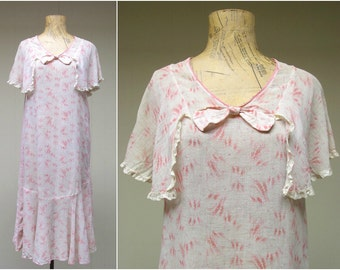 Vintage 1920s Dress / 20s Pink Cotton Gauze Capelet Chemise / Small-Medium