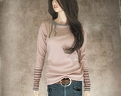 Coral rib top/Stripe long sleeve/extra long tee