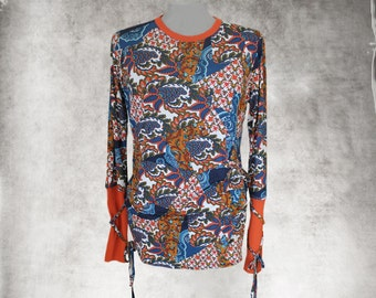 Blue paisley mix top/cross tie sleeves/extra long tee