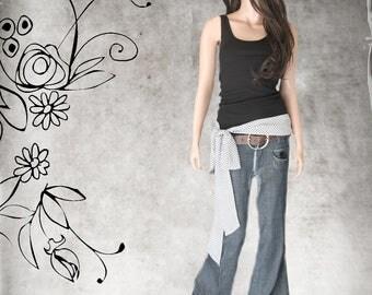 Black hip bow tank/mini check top/Adjustable shoulder bow/Sleeveless women tee