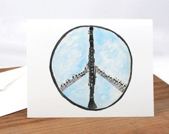 Clarinet music is peace art card, peace symbol, musician, woodwind player, black, blue, watercolor painting, ink drawing, sketchbook art