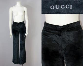 90s Vintage GUCCI Black Silky Velvet Mid-Rise Flare Pants  (XS, S; 38 It)