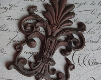 DELICIEUX antique French ormolu plume and scroll mount c1880 unused BELLE BROCANTE