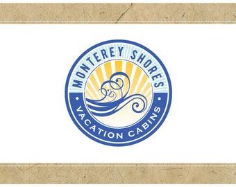Custom Logo Design - PreDesigned Logo PreMade Logo Vector Logo - OOAK Logo - MONTEREY Logo Branding - Ocean Logo - Sun Logo - Surf Logo