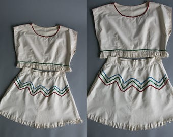 Vintage 1950's Fringe Handmade Sequined Two Piece Outfit with Cropped Top and Skirt Feminine/ Native American Costume , Cowboys and Indians