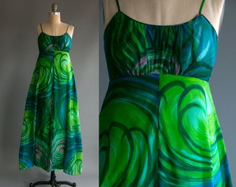 Vintage 70's Oceanic Swirl Sheer Spaghetti Strap Maxi Dress Women's Medium Retro/Hip/Psychedelic