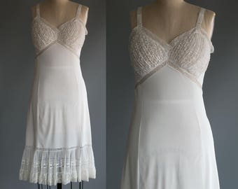 Vintage 1960's Sheer White Lace and Ruffles Lingerie / Slip Feminine Sexy Romantic Women's Medium Size 34 by Miss Elaine