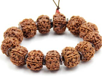 18mm x 14mm Rudarksha Bodhi Seed Tibetan Buddhist Prayer Beads Mala Bracelet  t3316