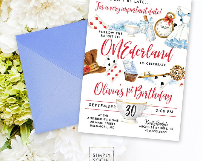 Onederland Wonderland Alice Printable Party Invitation Mad Hatter Red Queen Cards Tea Party Follow the Rabbit First Birthday