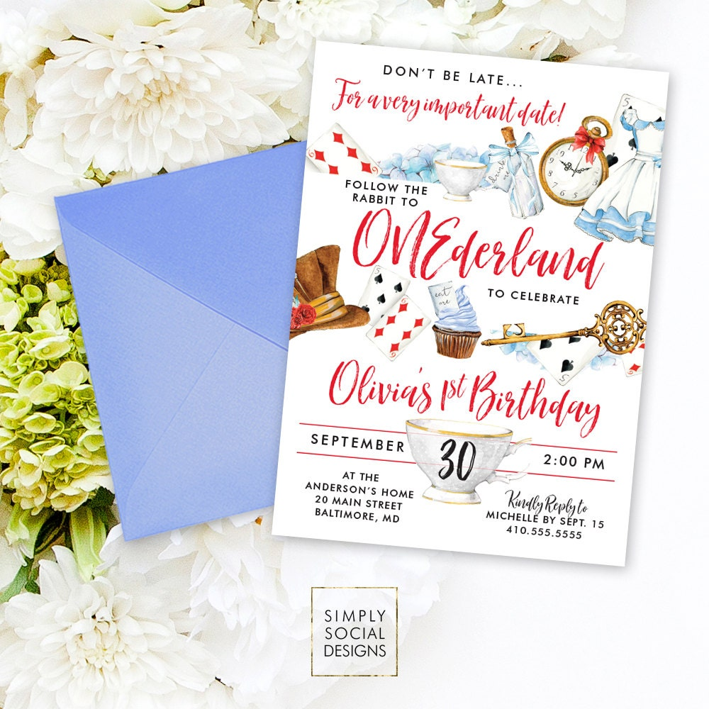 Onederland Wonderland Alice Printable Party Invitation Mad Hatter ...