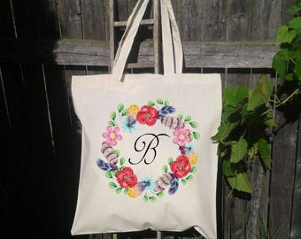 Wreath with Feathers, Feather Wreath Tote Bag, Gift Tote, Bridesmaid Gift Tote, Wreath Wedding Welcome Tote -Bridesmaid Bag