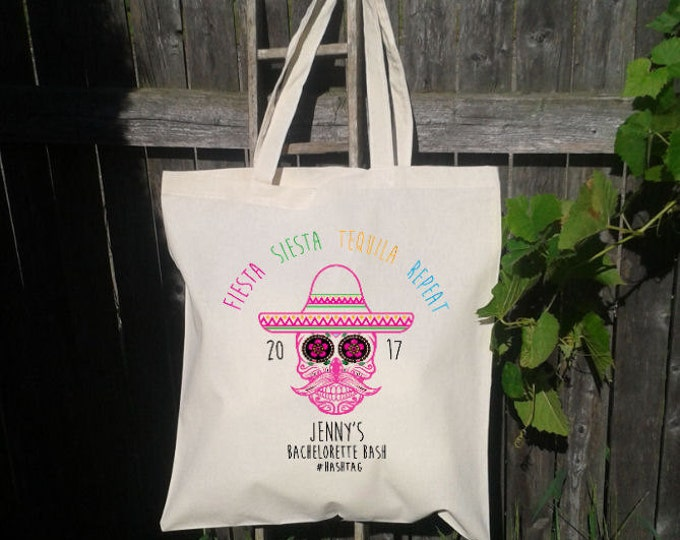 Sugar Skull Mexico Fiesta Bachelorette Party Tote Bags, Canvas Tote, Wedding Welcome Tote Bags,