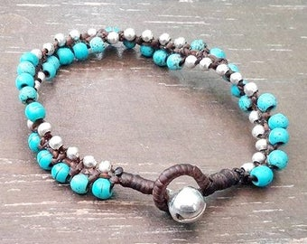 Twisted Turquoise Beaded Bracelet