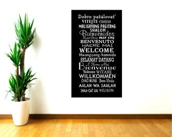Welcome Wall Decals in Different Languages,Global Greetings,School Office Decor,Welcome languages,Hotel Wall decor,European welcome words
