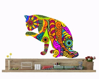 Cat wall decals, cat wall decor, cal wall art, cat lovers gift, colorful cat sticker, veterinarian office, abstract cat decal, kids wall art