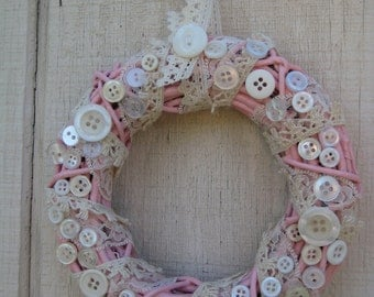 Shabby Chic Button Wreath//Cottage Chic Button Wreath//Pink Mini Wreath