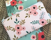 Zip Pouch. Cosmetic / Make-up Bag. Gadget / Pencil / Phone Case. Floral in Blush.