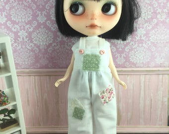 Blythe Overalls - White with Green Spot