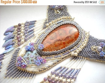 SPRING SALE 15% OFF Bead Embroidery Kit  (Insruction and Materials) - Necklace  Statement Nipomo coral fossil  - Lavenders at Sunset