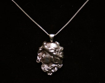 "Sterling silver art nouveau Mucha girl flower garden large heavy pendant necklace 18"""