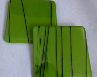 Fused Glass Coasters  in Pea Green with Black detailing - set of two MTO