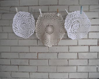 3 piece doilies upcycling shabby chic vintage doilies beige doily white doily french country cottage decor cotton doilies supplies - destash