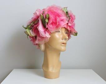 vintage 60s pink cabbage rose cap - vintage floral hat / garden party hat - statement hat  / vintage pink floral cap - summer hat