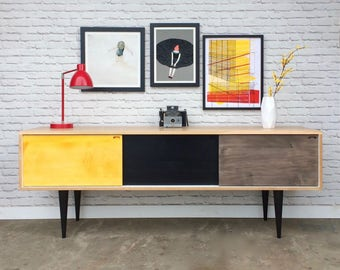 Roosevelt Credenza- Brown Maple/Ebony/White/Yellow/Grey - In Stock!