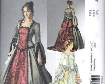 McCall's M6097 Victorian Elizabethan Medieval Renaissance Costume Dress Ball Gown Cosplay Sewing Pattern UNCUT Size 6, 8, 10 and 12