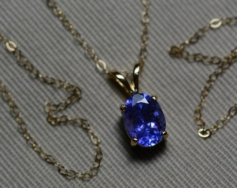 "Tanzanite Necklace, 14 Karat Yellow Gold Tanzanite Pendant 1.38 Carat, Certified Tanzanite, 18"" Gold Chain, Oval Cut, Appraised At 759.00"