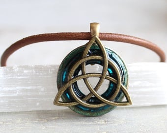 blue triquetra necklace, mens jewelry, celtic jewelry, boyfriend gift, mens necklace, unique gift, irish jewelry, mens gift, wiccan jewelry
