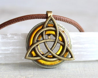 yellow triquetra necklace, mens necklace, mens jewelry, celtic jewelry, unique gift, irish jewelry, mens gift, celtic necklace, celtic knot