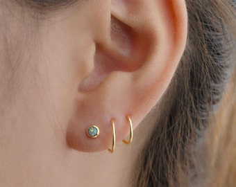 Double Hoop Opal Earrings Gold Plated Spiral Earrings, Double Piercing Earrings, Handmade Lunai, Girlfriend Gift, EAR148O03