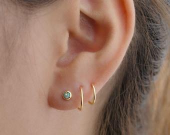 Double Hoop Opal Earrings, Gold Plated Spiral Earrings, Double Piercing Earrings, Handmade Lunaijewelry, Gift for her, EAR148O03