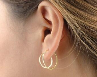 Medium Hoop Earrings, Sterling Silver, Gold Plated, Gold Filled Hoops, Wire Hoop Earrings, Minimalist Lunaijewelry, Gift for her, EAR003